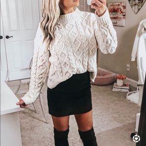 Button Fly Black Corduroy Mini Skirt